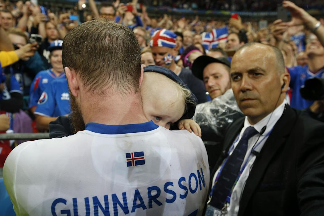 Iceland's Aron Gunnarsson at the end of the game