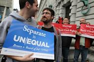 File photo show opponents of Proposition 8, California's anti-gay marriage bill, celebrating outside a US court in February. Gay rights groups cheered the announcement by US President Barack Obama that he supports same-sex marriage, but conservatives swiftly denounced his landmark stance