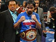 Manny Pacquiao after winning his WBO welterweight title fight in November 2011. On Saturday, Timothy Bradley will be fighting for just the second time at 147 pounds, moving up to challenge for Pacquiao's welterweight belt