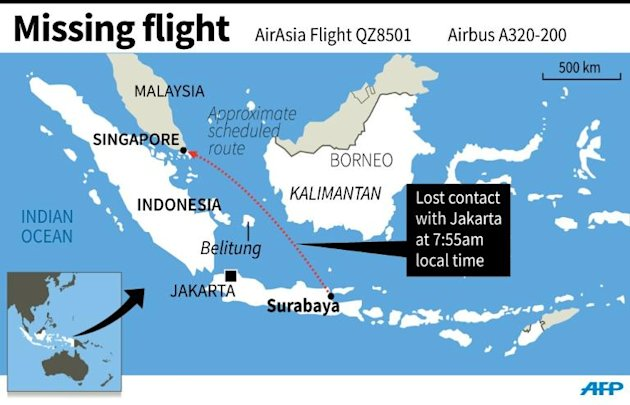 Map locating the scheduled flight AirAsia QZ8501, which went missing on Sunday morning