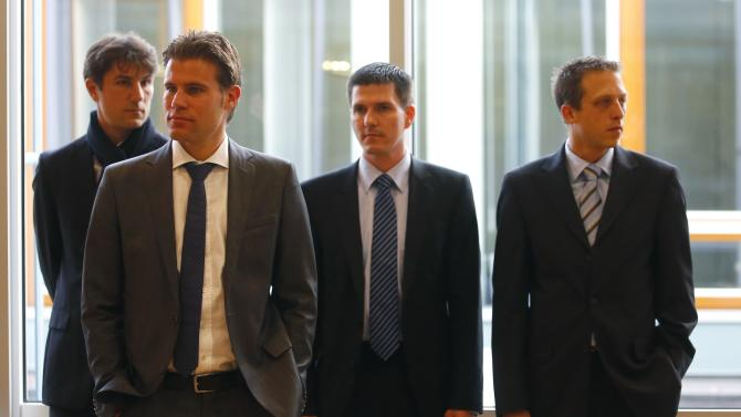 Bundesliga referee Brych and his assistant referees Borsch and Lupp wait for hearing at DFB sports court in Frankfurt