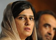 "Pakistan Foreign Minister Hina Rabbani Khar addresses a press conference at the Foreign Ministry in Islamabad. She said it was time for Pakistan to ""move on"" and repair relations with the United States and NATO"