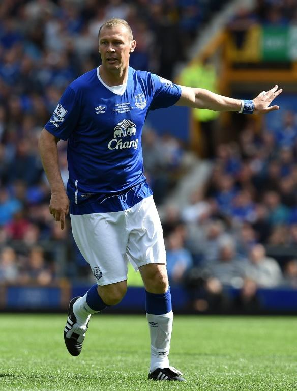 Former Everton forward Duncan Ferguson in action during the Duncan Ferguson Testimonal pre-season friendly football match between Everton and Villarreal at Goodison Park in Liverpool on August 2, 2015