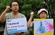 South Korean activists hold a protest against a controversial military agreement with Japan, outside the foreign ministry in Seoul. South Korea has postponed the signing of a landmark military agreement with Japan, after strong objections from both the ruling and opposition parties in Seoul