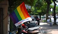 """A rainbow flag displaying the words """"Viet Pride"""" at a Lesbian Gay Bisexual and Transgender (LGBT) community event in Hanoi on August 4, 2012"""