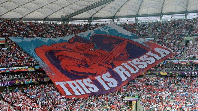 TOPSHOTS Russia's Football Fans Display A Giant Banner AFP/Getty Images