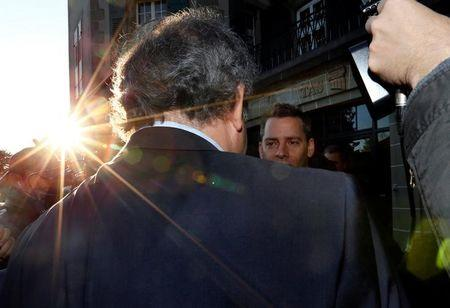 UEFA President Platini arrives for hearing at Court of Arbitration for Sport in Lausanne