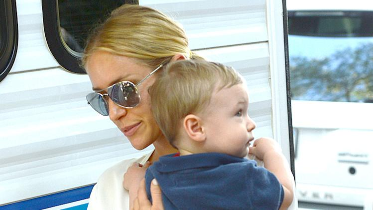 Kristin Cavallari goes to a film set in Los Angeles with baby Camden