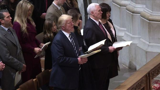 Trump, Pence attend National Cathedral service