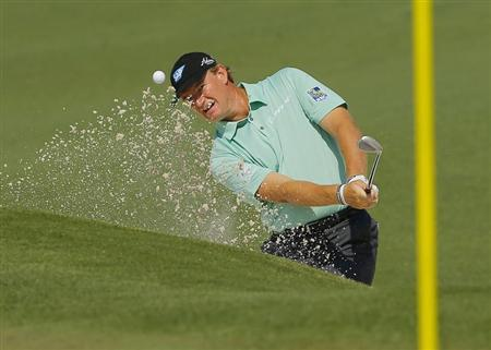 South Africa's Ernie Els hits from the sand on the second hole during the second round of the Masters golf tournament at the Augusta National Golf Club in Augusta