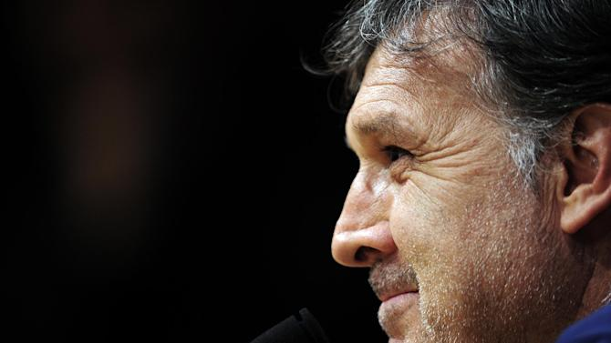 Barcelona's coach Gerardo Tata Martino from Argentina attends a press conference at the Camp Nou in Barcelona, Spain, Tuesday, Nov. 5, 2013.  FC Barcelona will play against AC Milan in a group H Champions League soccer match on Wednesday Nov. 6