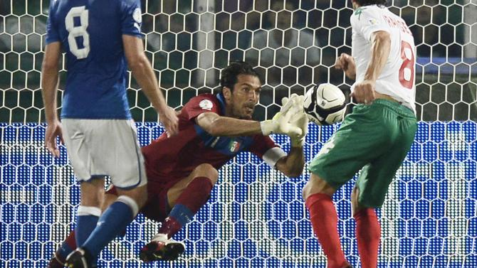 Italy's goalkeeper Buffon makes a save during the World Cup qualifying soccer match against Bulgaria in Palermo