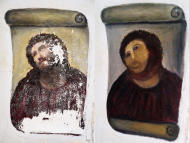 This combination of two undated handout photos made available by the Centro de estudios Borjanos shows the 20th century Ecce Homo-style fresco of Christ before (left) and after (right) an elderly amateur artist Celia Gimenez, 80, took it upon herself to restore it in the church of the northern Spanish agricultural town of Borja. The incident made national news and was an Internet trending topic Thursday Aug 23 2012 with some Twitter users dubbing it 'Ecce Mono', meaning 'Behold the Monkey' instead of 'Behold Man.' (AP Photo/Centro de estudios Borjanos)