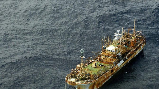 In a photo provided by the U.S. Coast Guard the unmanned Japanese fishing vessel Ryou-un Maru dirfts northwest in the Gulf of Alaska approximately 164 miles southwest of Baranof Island Wednesday April 4, 2012.  The vessel has been adrift since it was launched by the tsunami caused by the magnitude-9.0 earthquake that struck Japan last year.  The Coast Guard is monitoring the vessel, which is currently considered a hazard to navigation.  (AP Photo/Petty Officer 1st Class Sara Francis, U.S. Coast Guard)