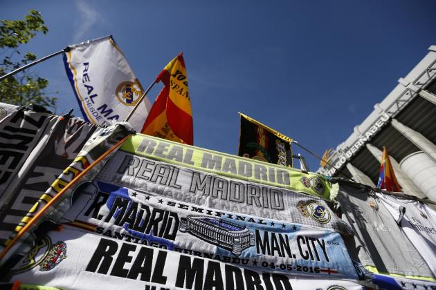 General view of scarves outside the stadium before the match