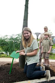 Bindi Irwin came with family to Singapore to promote her wildlife shows with Discovery Kids, but also made time to plant an Australian Bottle tree at the Gardens by the Bay, as part of her conservation efforts. (Photo credit to: Discovery Kids)