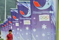 A row of banners displays the logo of South Korea's mountain resort of Pyeongchang, on July 7, 2011. About 2,300 mentally disabled athletes have gathered in Pyeongchang for the 2013 Special Winter Olympics, with Nobel Peace Prize winner Aung San Suu Kyi to attend Tuesday's opening ceremony