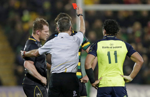 Dylan Hartley of Northampton Saints gets sent off by referee Jerome Garces
