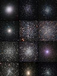 Mosaic of images of 12 globular clusters ranked in order of increasing dynamical age, as measured from the observed radial distribution of their blue straggler stars. From top left to bottom right: omega Centauri, NGC 288, M55, NGC6388, M4, M13