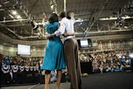 US President Barack Obama and First Lady Michelle Obama wave to supporters after a campaign event in Richmond, Virginia