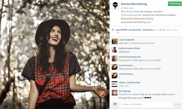 10 Ways to Organically Gain Instagram Followers image blackmilkclothing resharing