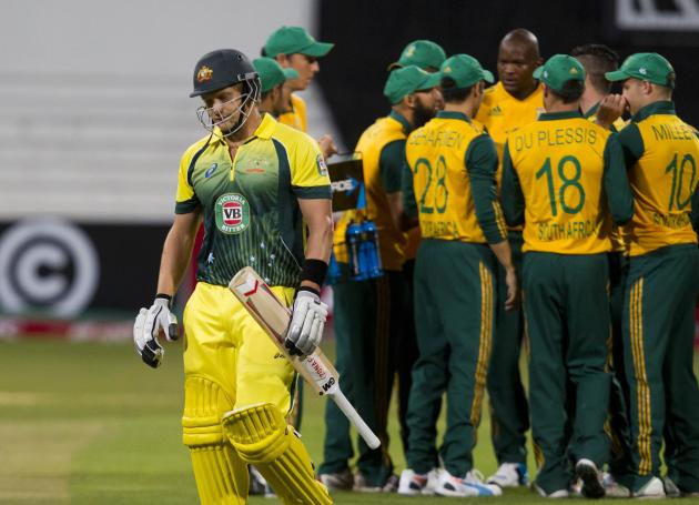Australia's Watson reacts after getting out during the cricket T20 International cricket match against South Africa in Durban