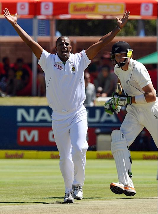 South Africa's Bowler Vernon Philander successfuly appeals against New Zealnad batsman Martin Guptill, on day one of the first Test match between South Africa and New Zealand at Newlands in Cape T