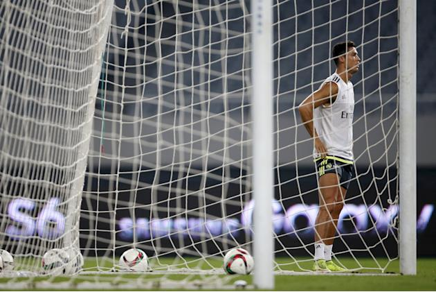 Ronaldo of Real Madrid attends a training session ahead of a friendly match against A.C. Milan in Shanghai