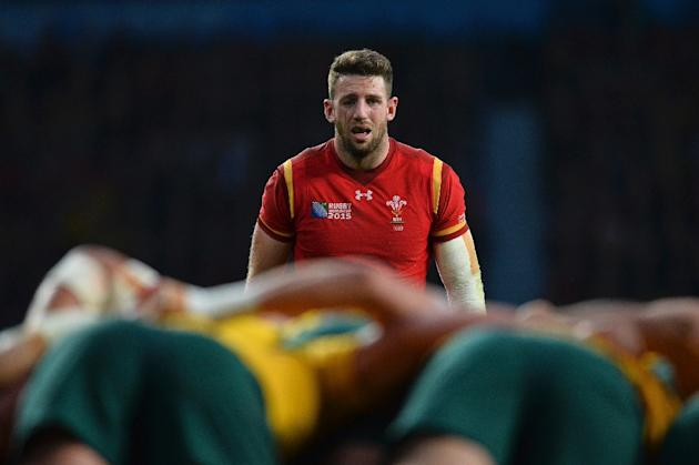 Wales' wing Alex Cuthbert looks on during a Pool A match of the 2015 Rugby World Cup between Wales and Australia at Twickenham Stadium, southwest London, on October 10, 2015