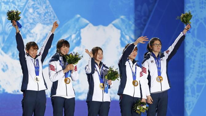 Medal ceremony for women's 3,000 metres short track relay final event at 2014 Sochi Winter Olympics