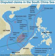 Graphic showing contending claims in the South China Sea. China has granted its border patrol police the right to board and expel foreign ships entering disputed waters, state medias report