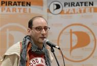 New elected political secretary Ponader of Germany's Pirate Party addresses the media in Neumuenster