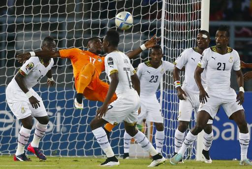 Ivory Coast's Aurier goes for the ball during the African Nations Cup (AFCON 2015) final soccer match against Ghana in Bata