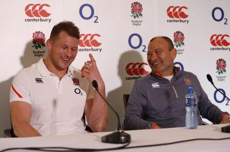 England Head Coach Eddie Jones and Dylan Hartley during the press conference