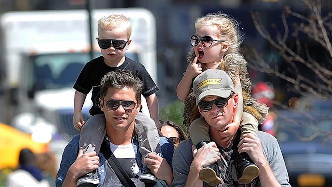 Neil Patrick Harris and family visit Madison Square Park in Manhattan