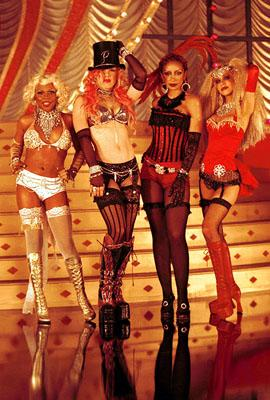 "Lil' Kim , Pink , Mya and Christina Aguilera at the video shoot for ""Lady Marmalade,"" from the soundtrack of 20th Century Fox's Moulin Rouge Photo: Kevin Mazur/Wireimage.com"