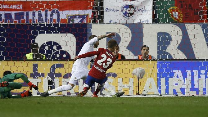 Atletico Madrid's Luciano Vietto scores a goal during their Spanish first division derby soccer match in Madrid