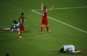 Johannsson of the U.S. celebrates defeating Ghana in their 2014 World Cup Group G soccer match at the Dunas arena in Natal