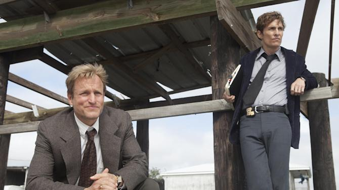 "This image released by HBO shows Woody Harrelson, left, and Matthew McConaughey from the HBO series ""True Detective."" HBO says its streaming service is back running normally, although too late for many anxious fans of the ""True Detective"" series. Most fans who tried to log onto the ""HBO GO"" stream for the Sunday night season finale of ""True Detective"" were effectively stopped. HBO said Monday that the service crashed because of ""an excessive amount of traffic"" soon after the 9 p .m. ET start of the episode. (AP Photo/HBO, Jim Bridges)"