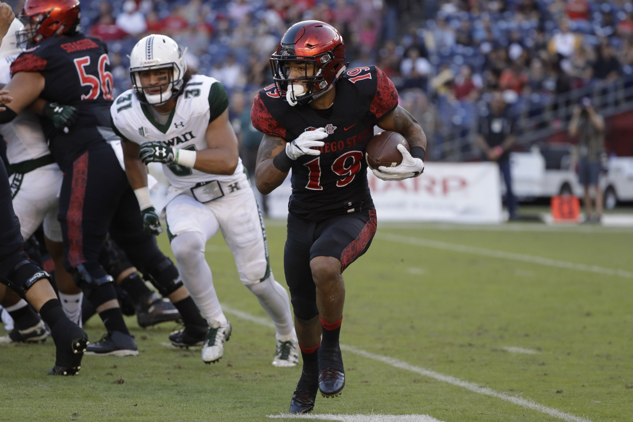 Donnel Pumphrey broke Ron Dayne's record in the Las Vegas Bowl. (AP Photo/Gregory Bull)