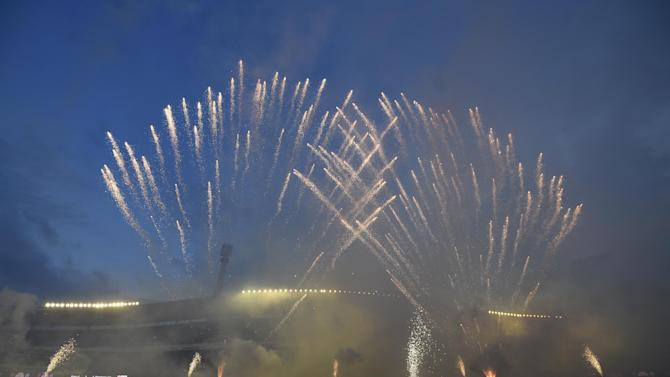 General view of a fireworks display after the match