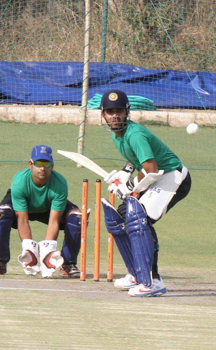 Ajinkya Rahane bats in the nets in Jaipur ahead of IPL 6