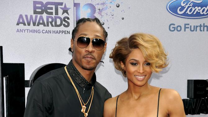 Future, left, and Ciara arrive at the BET Awards at the Nokia Theatre on Sunday, June 30, 2013, in Los Angeles. (Photo by Chris Pizzello/Invision/AP)
