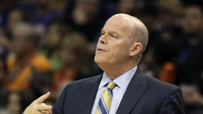 Charlotte Bobcats head coach Steve Clifford reacts in the first quarter during an NBA basketball game against the Phoenix Suns, Saturday, Feb. 1, 2014, in Phoenix