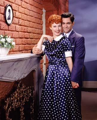 "Daniel Pino as Desi Arnaz and Rachel York as Lucille Ball CBS' ""Lucy"" - 2003 I Love Lucy"