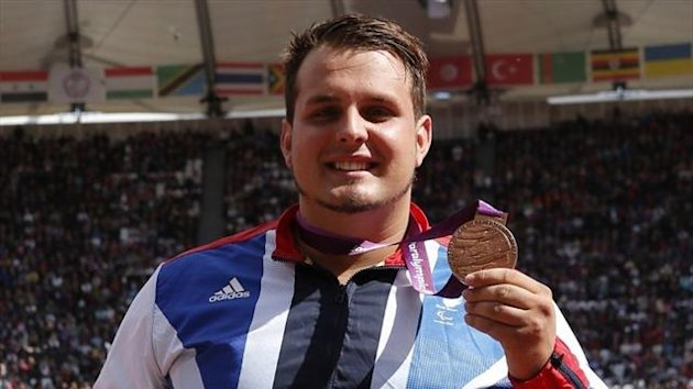Aled Davies wins shot bronze at the London 2012 Paralympics (AFP)