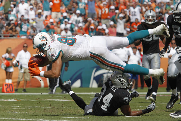 Miami Dolphins' Anthony Fasano leaps into th eendzone to score at the expense of Oakland Raiders' Mike Mitchell during their NFL football game in Miami Gardens, Florida