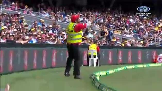 Security guard makes a meal of throw