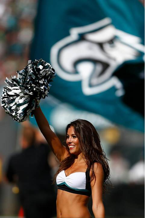 A Philadelphia Eagles cheerleader performs during the second half of an NFL football game against the Jacksonville Jaguars, Sunday, Sept. 7, 2014, in Philadelphia. (AP Photo/Michael Perez)