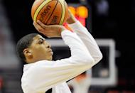 US college star Anthony Davis, pictured on July 12, has been named to the Olympic men's basketball team, replacing Los Angeles Clippers centre Blake Griffin who is out with a knee injury